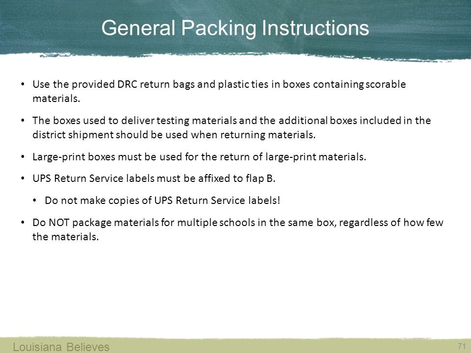 General Packing Instructions