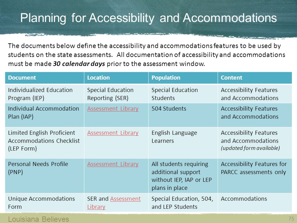 Planning for Accessibility and Accommodations