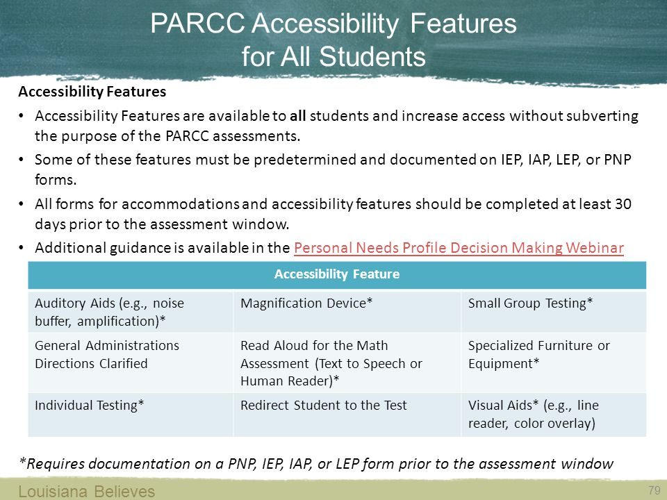 PARCC Accessibility Features for All Students