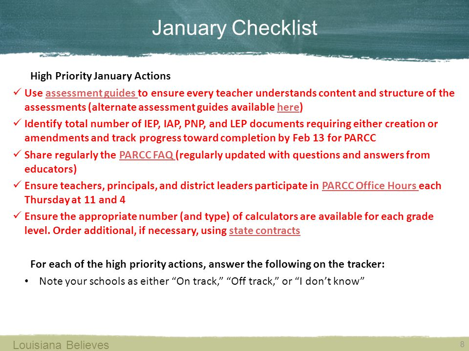January Checklist High Priority January Actions