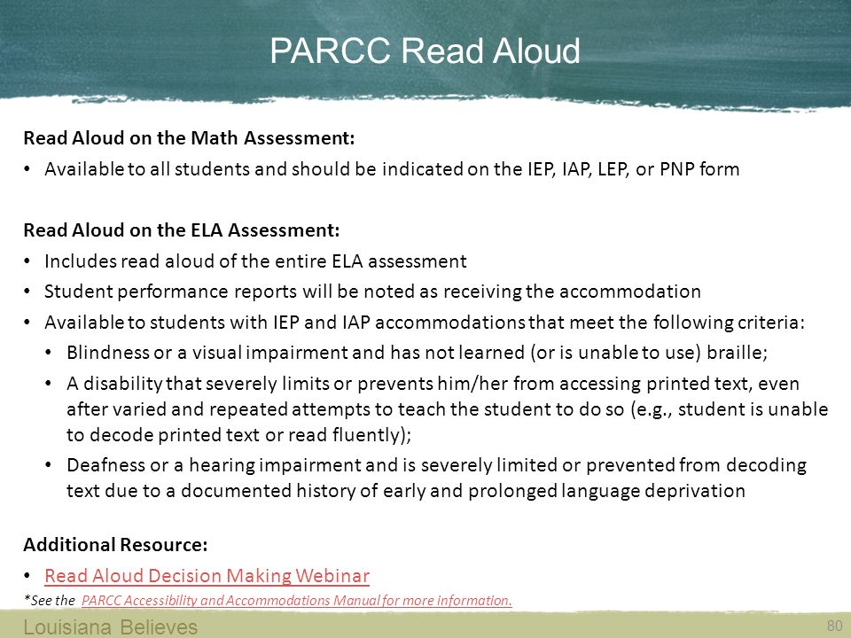 PARCC Read Aloud Read Aloud on the Math Assessment: