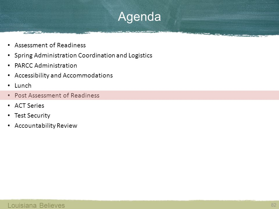 Agenda Assessment of Readiness