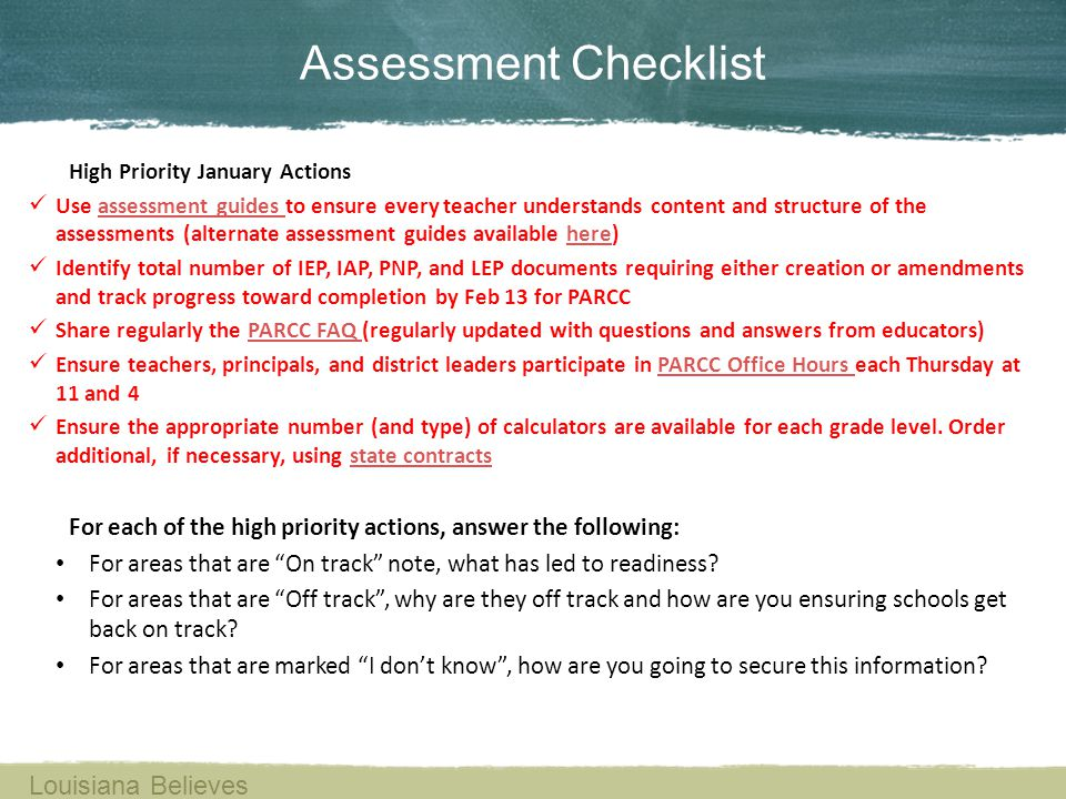 Assessment Checklist Louisiana Believes