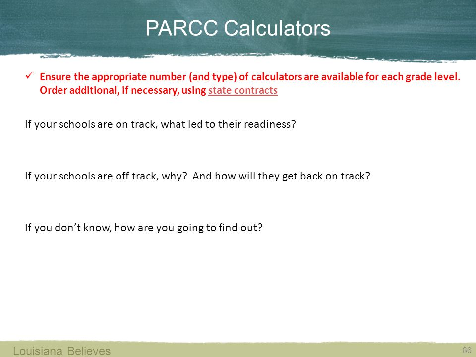 PARCC Calculators