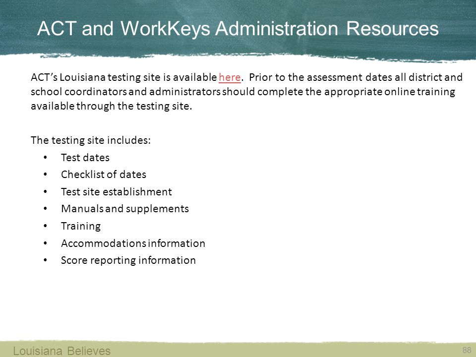 ACT and WorkKeys Administration Resources