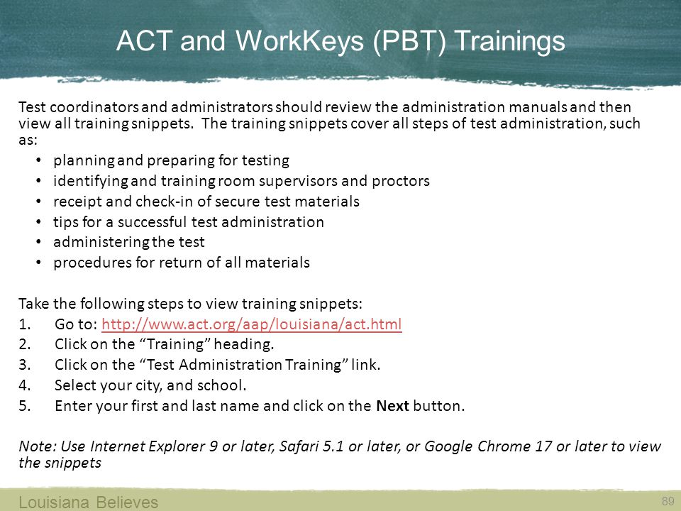 ACT and WorkKeys (PBT) Trainings