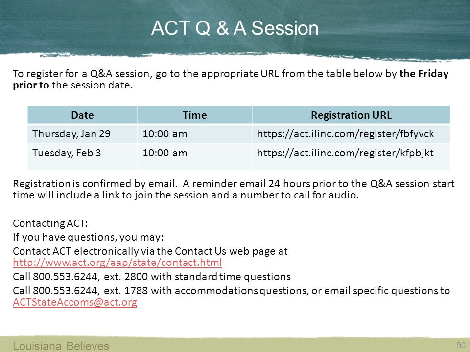 ACT Q & A Session