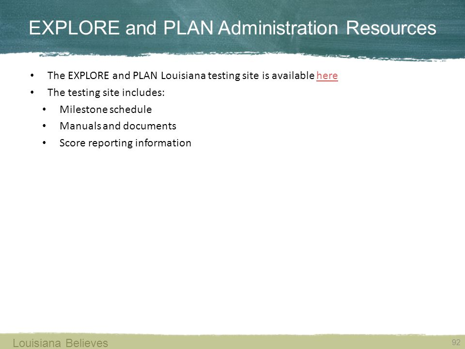 EXPLORE and PLAN Administration Resources