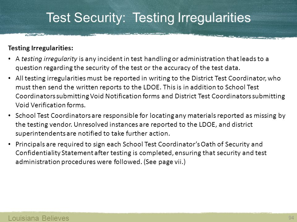 Test Security: Testing Irregularities