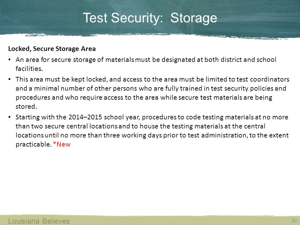 Test Security: Storage
