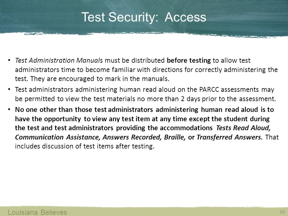 Test Security: Access