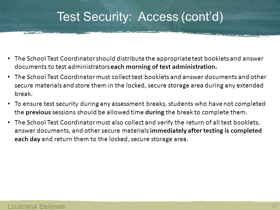 Test Security: Access (cont'd)