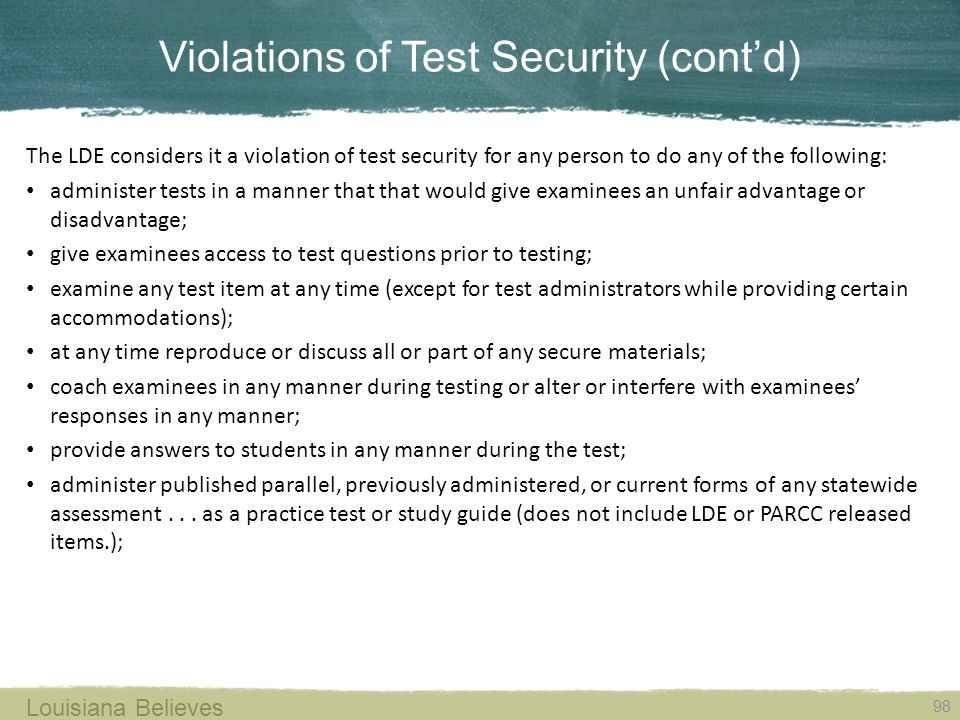 Violations of Test Security (cont'd)