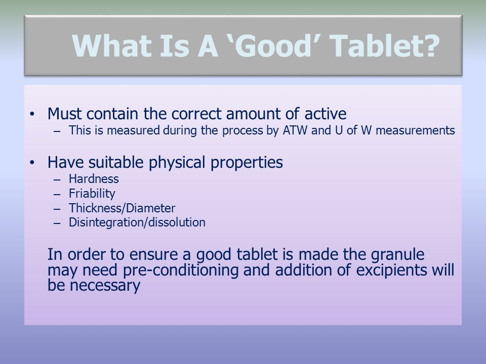 What Is A 'Good' Tablet Must contain the correct amount of active