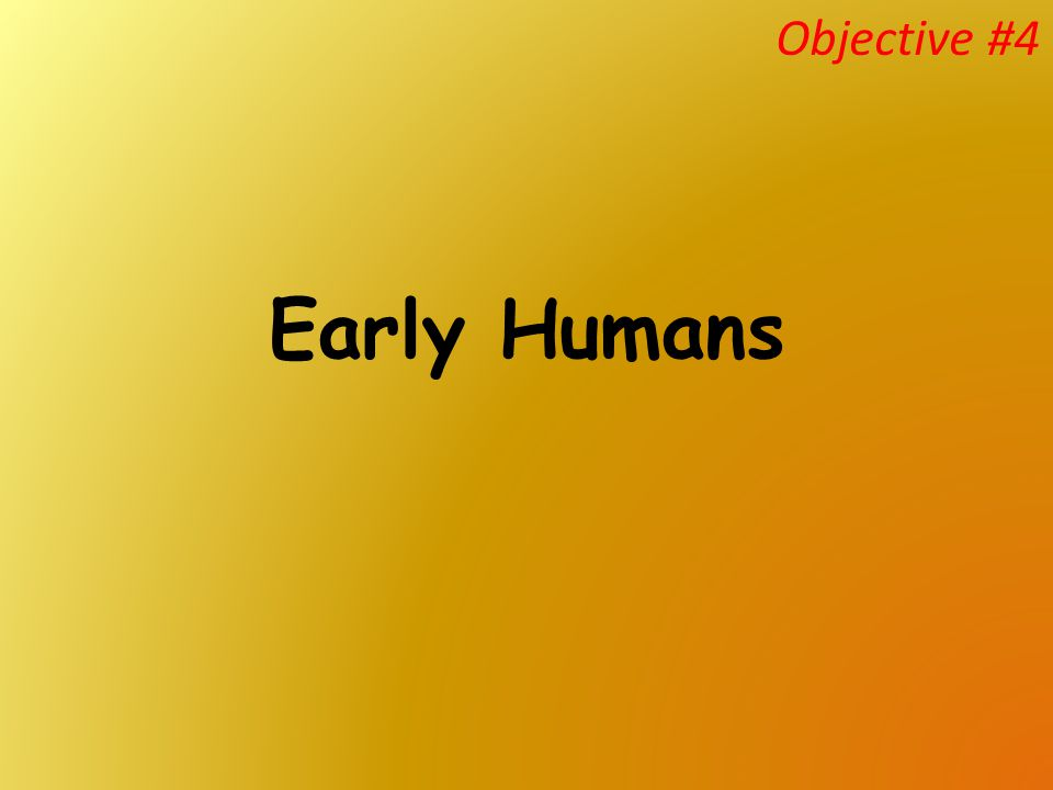 Objective #4 Early Humans