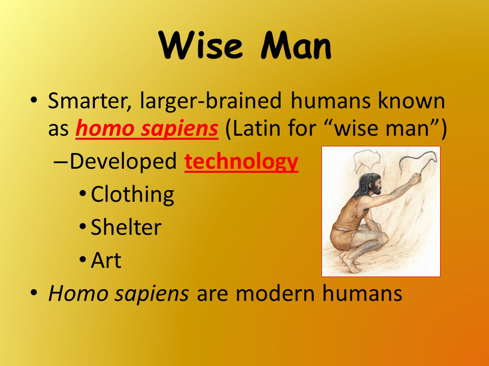 Wise Man Smarter, larger-brained humans known as homo sapiens (Latin for wise man ) Developed technology.