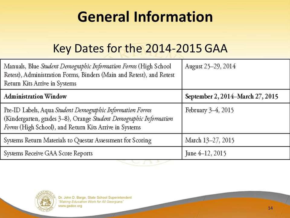 General Information Key Dates for the 2014-2015 GAA