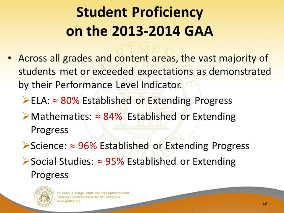 Student Proficiency on the 2013-2014 GAA