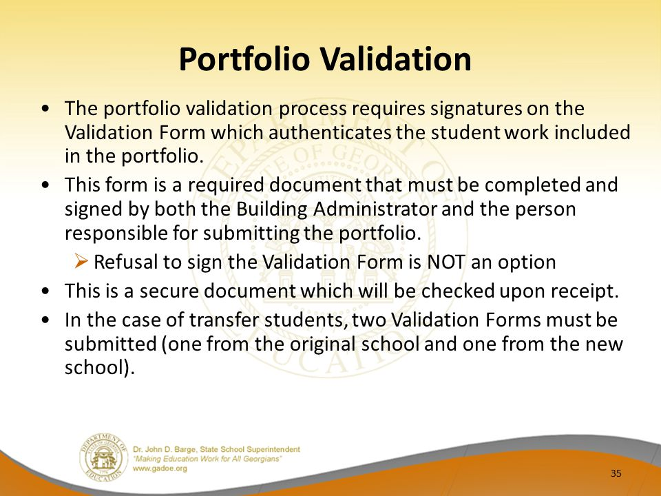 Portfolio Validation