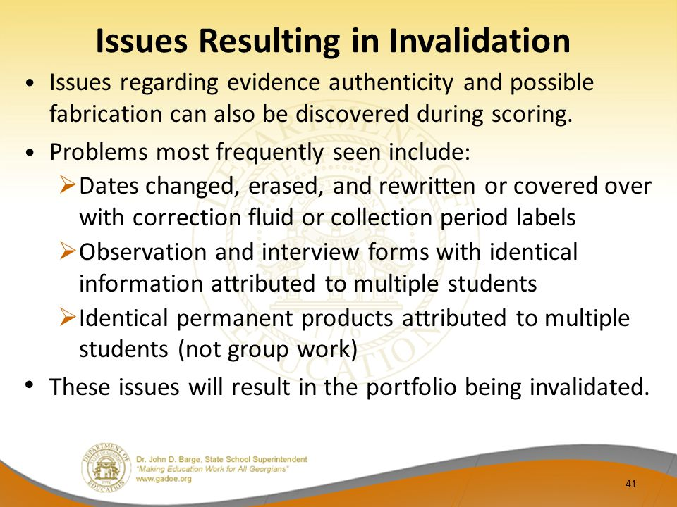 Issues Resulting in Invalidation