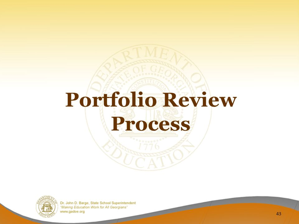 Portfolio Review Process