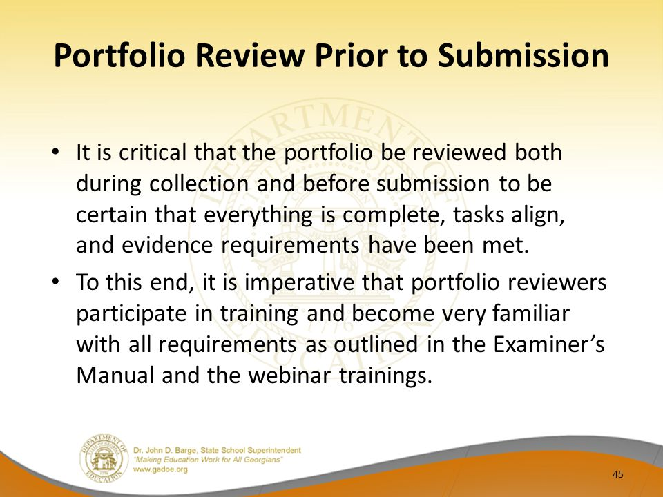 Portfolio Review Prior to Submission