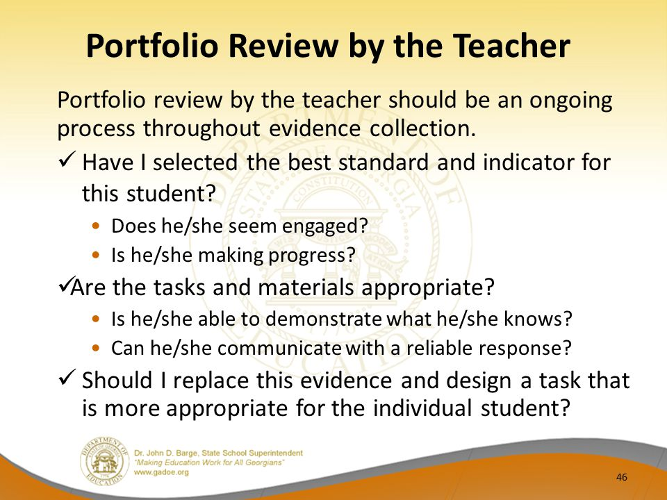 Portfolio Review by the Teacher