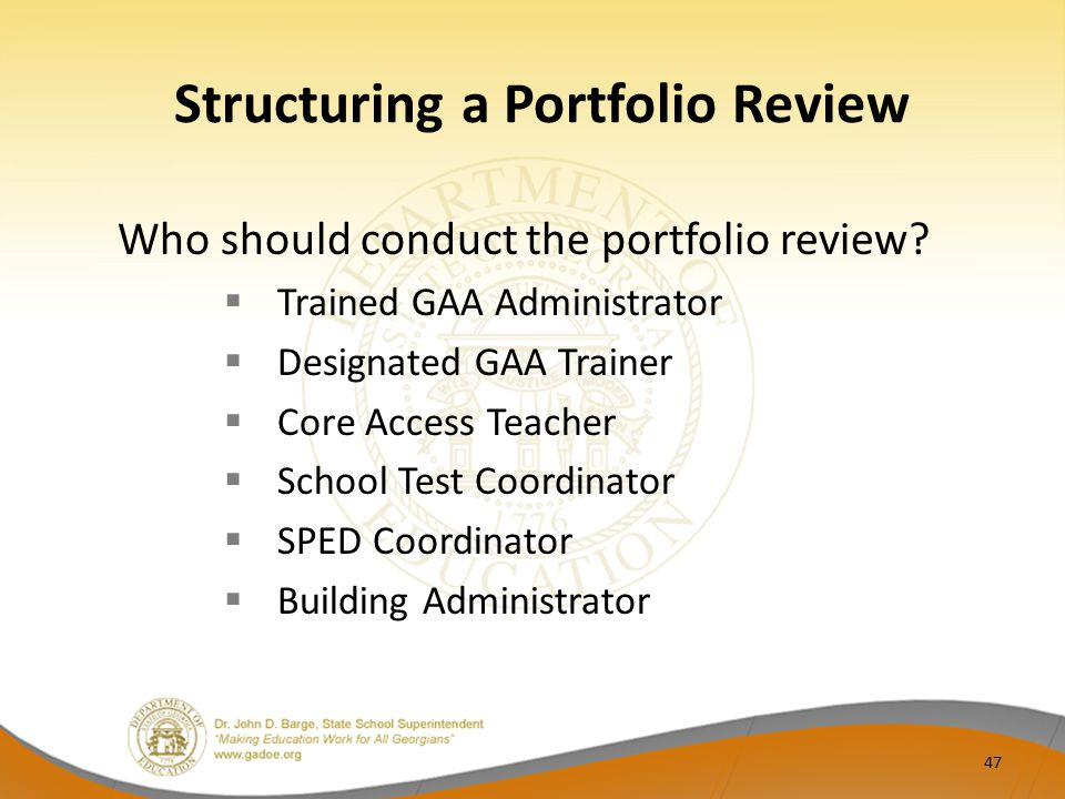 Structuring a Portfolio Review