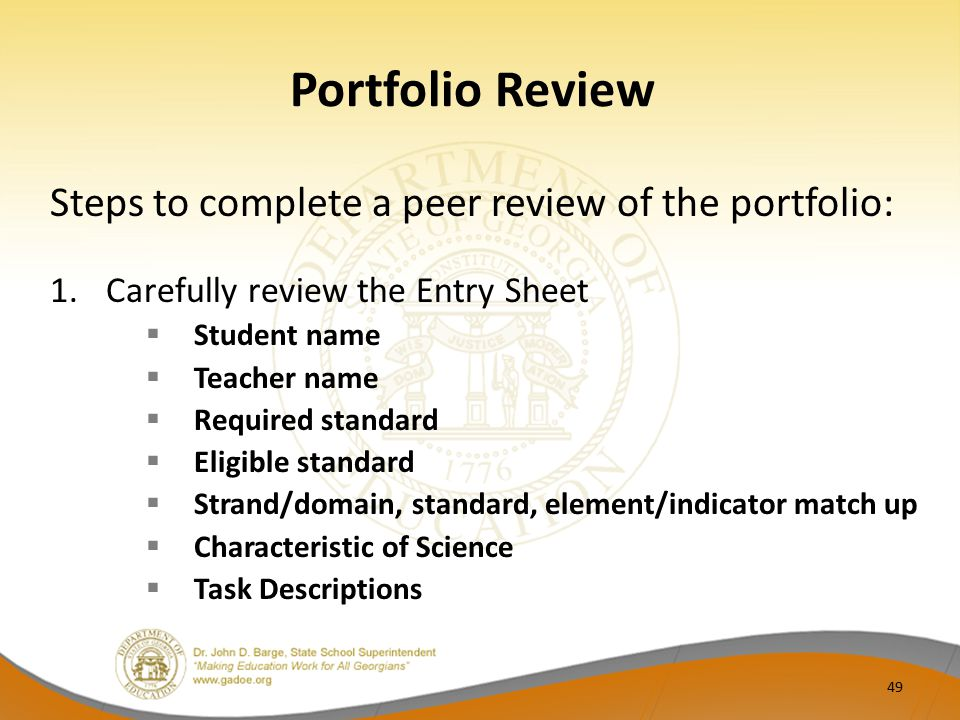 Portfolio Review Steps to complete a peer review of the portfolio: