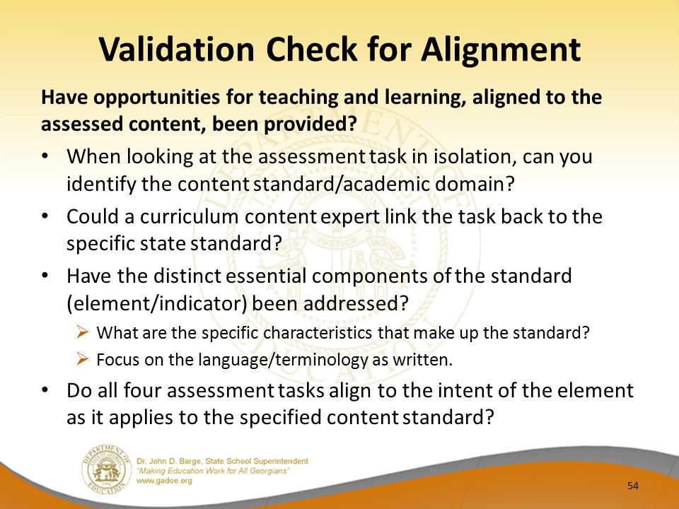 Validation Check for Alignment