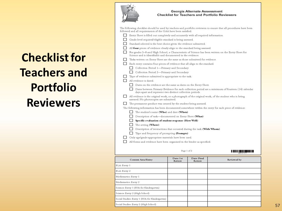 Checklist for Teachers and Portfolio Reviewers