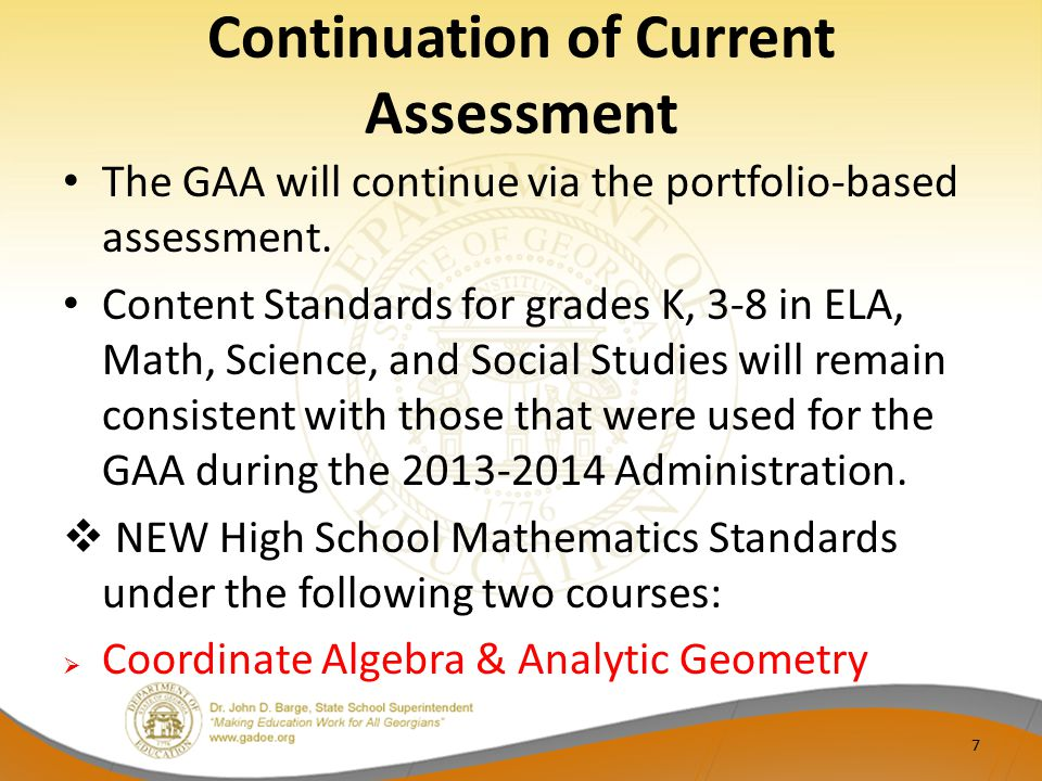 Continuation of Current Assessment