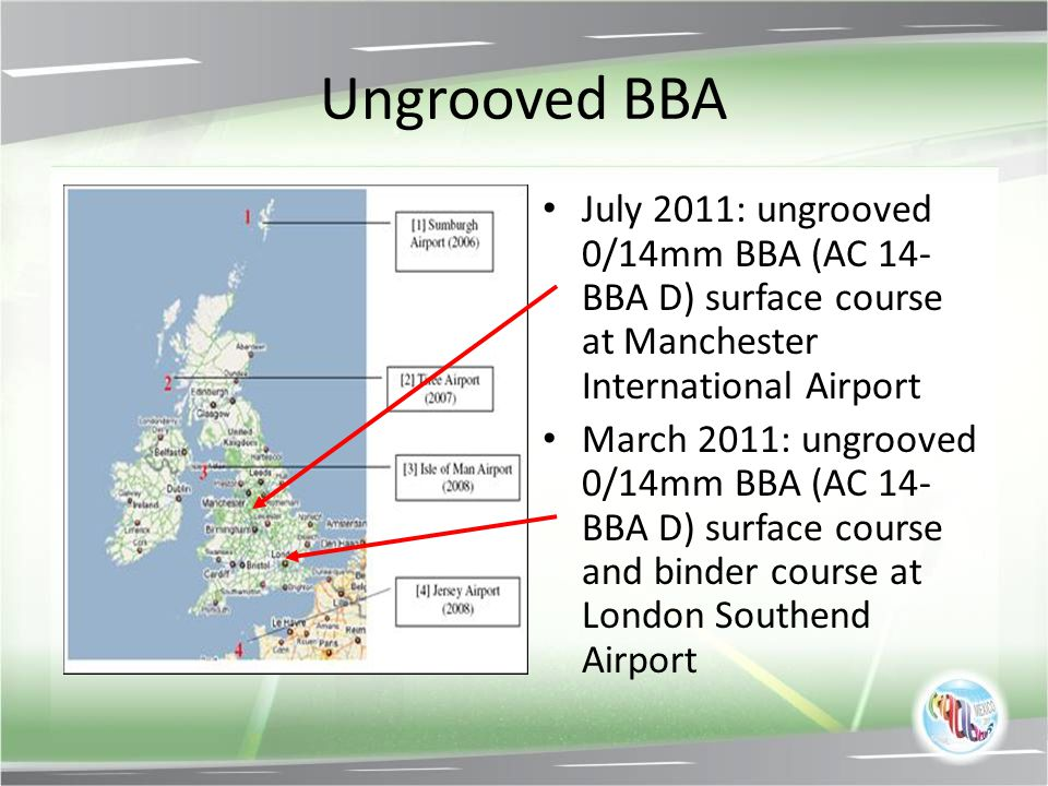 Ungrooved BBA July 2011: ungrooved 0/14mm BBA (AC 14-BBA D) surface course at Manchester International Airport.