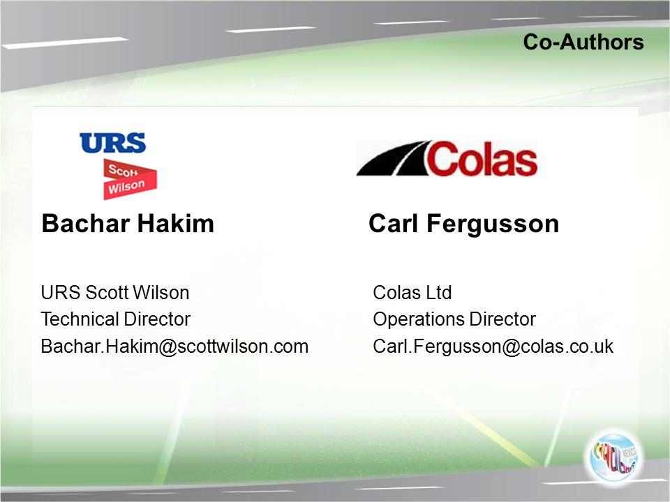 Bachar Hakim Carl Fergusson Co-Authors URS Scott Wilson