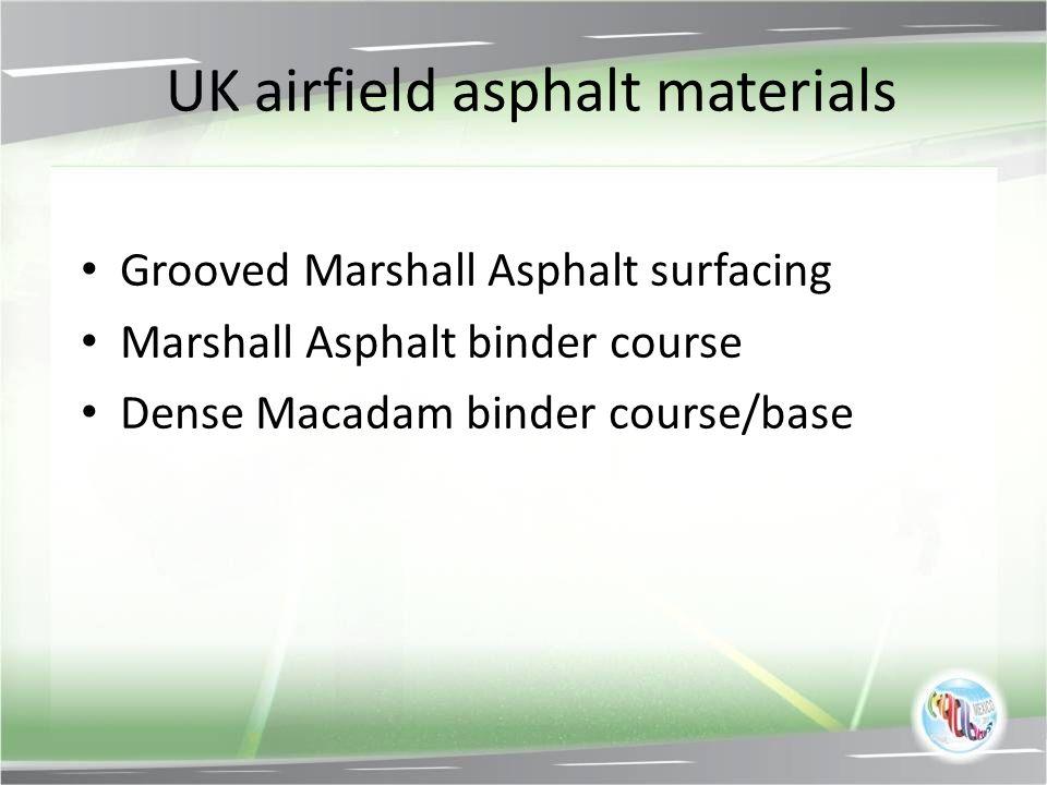 UK airfield asphalt materials