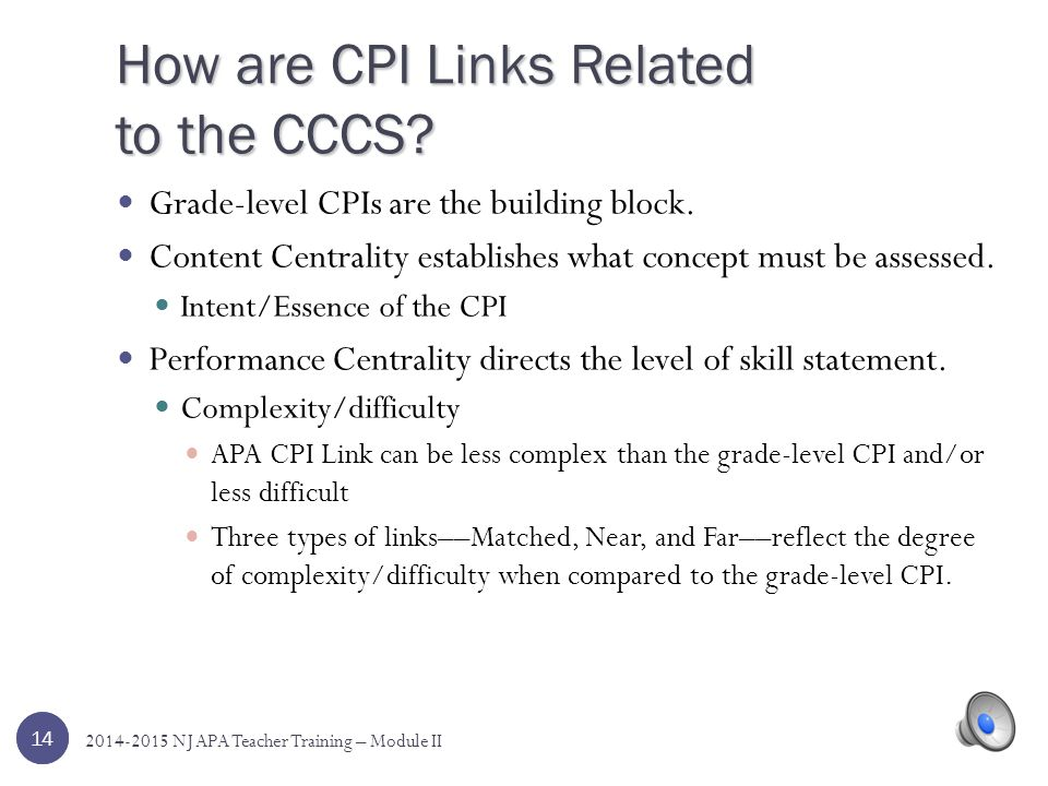 How are CPI Links Related to the CCCS
