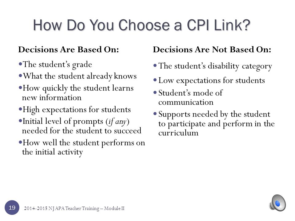 How Do You Choose a CPI Link