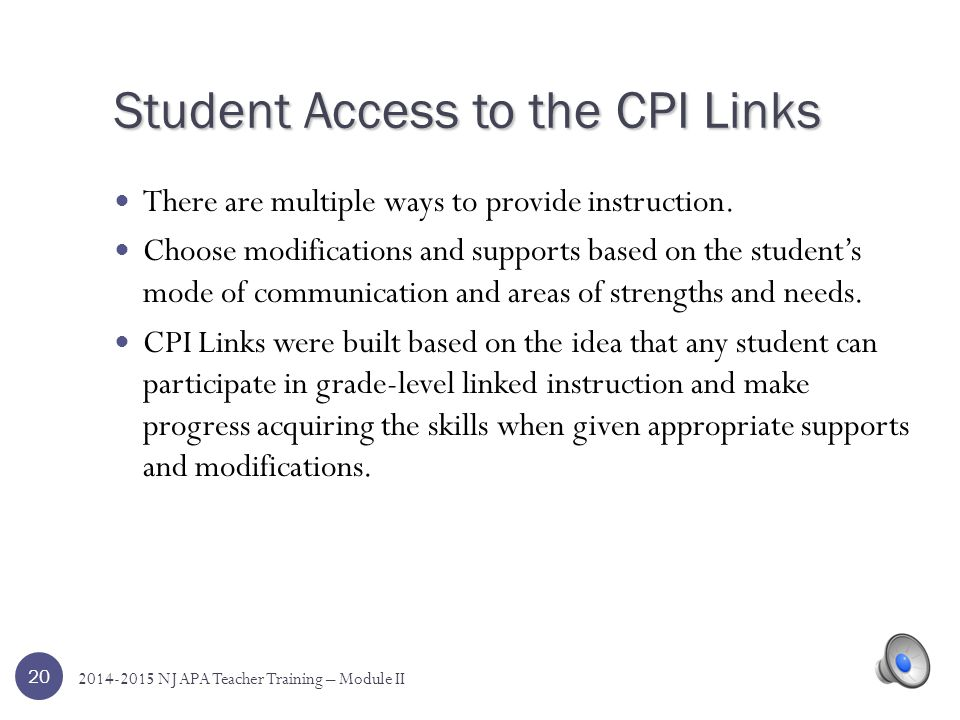 Student Access to the CPI Links