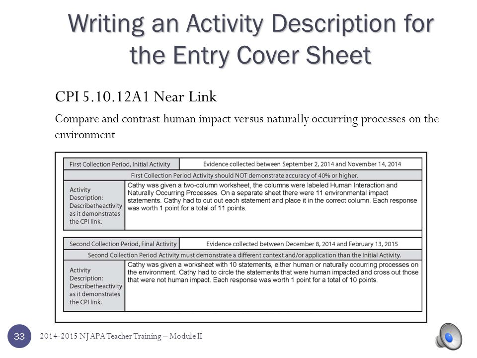 Writing an Activity Description for the Entry Cover Sheet