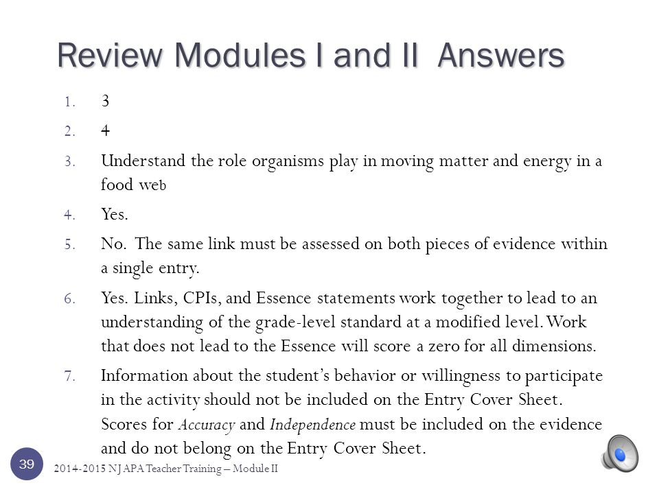 Review Modules I and II Answers