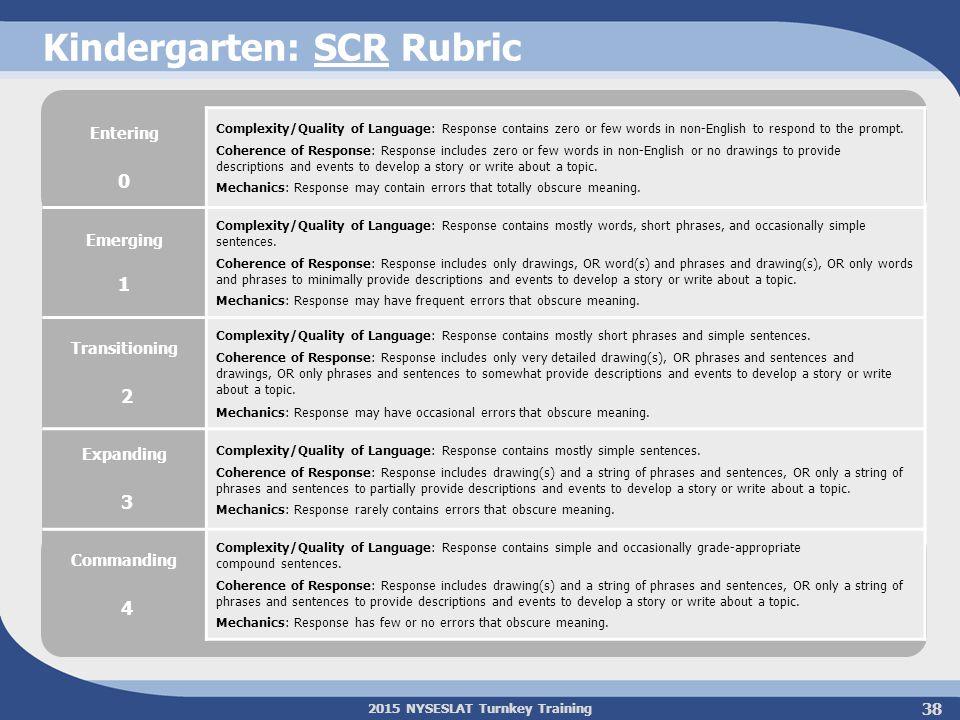 Kindergarten: SCR Rubric