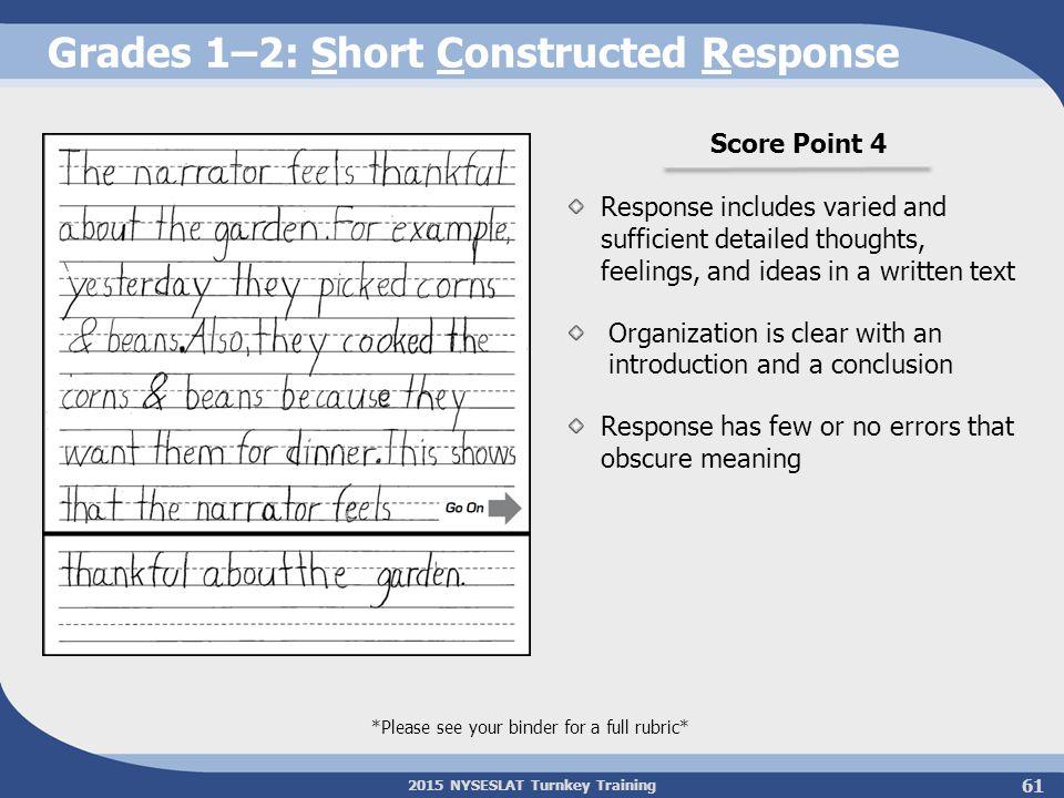 Grades 1–2: Short Constructed Response