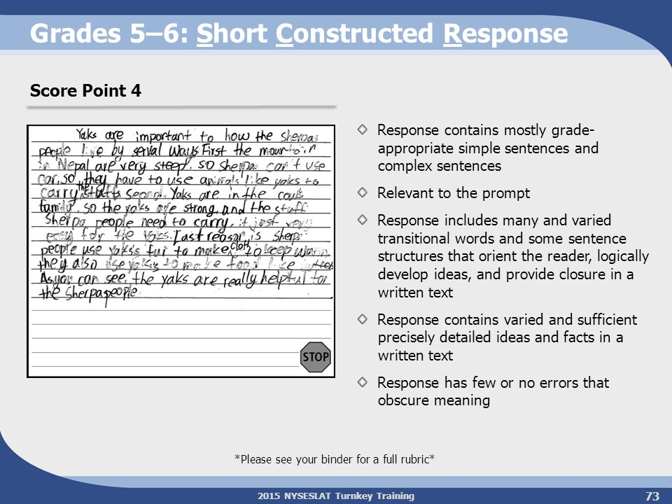 Grades 5–6: Short Constructed Response
