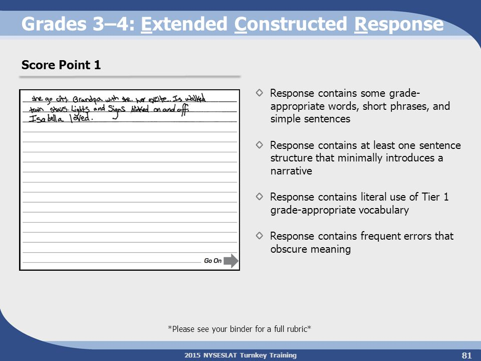 Grades 3–4: Extended Constructed Response