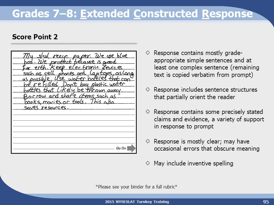 Grades 7–8: Extended Constructed Response