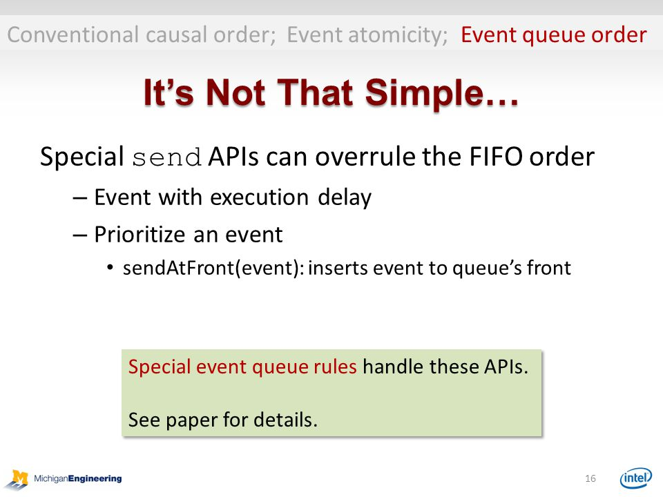 It's Not That Simple… Special send APIs can overrule the FIFO order