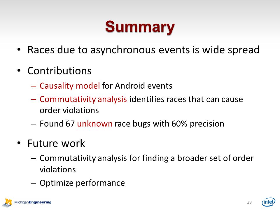 Summary Races due to asynchronous events is wide spread Contributions
