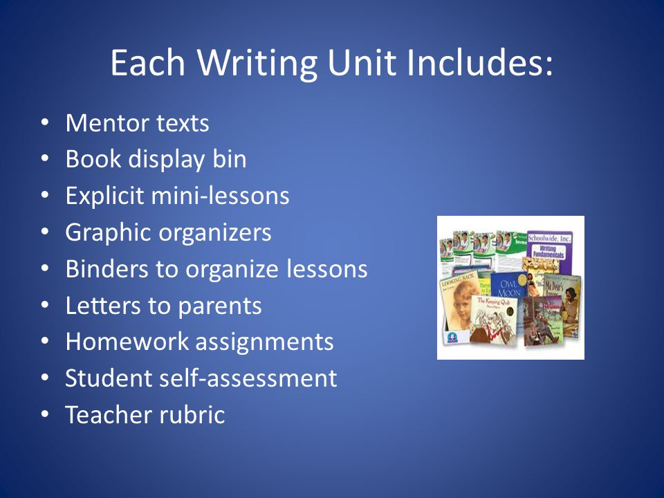 Each Writing Unit Includes: