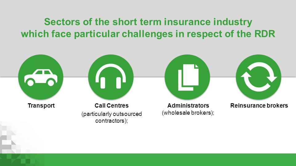 Sectors of the short term insurance industry which face particular challenges in respect of the RDR