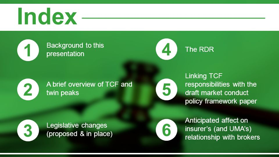 Index 1 4 2 5 3 6 Background to this presentation The RDR